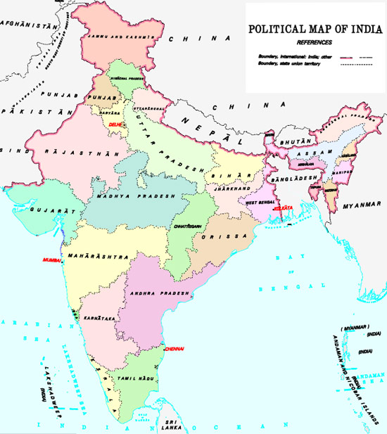 Map Of India - Political map of mauritius