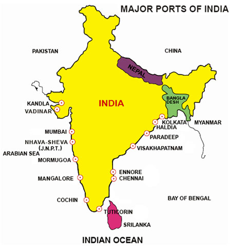 Seaport Map of India