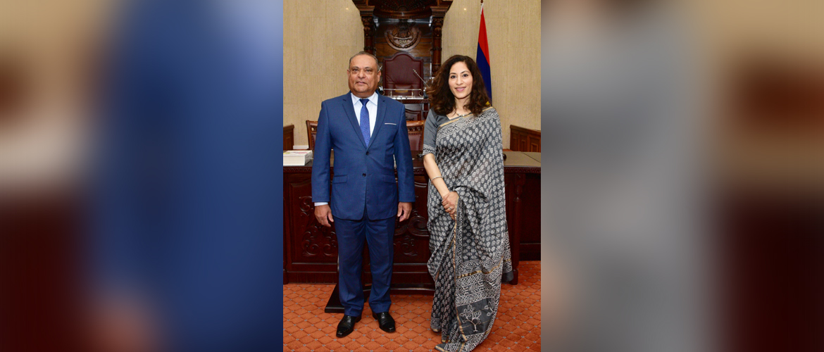 High Commissioner K. Nandini Singla called on Hon. Sooroojdev Phokeer, Speaker of the Mauritius National Assembly.